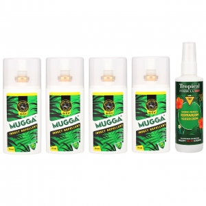 4x MUGGA DEET 9,5% spray + Tropical FORMULA DEET 15% spray