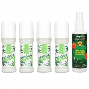 4x MUGGA DEET 20% roll-on + Tropical FORMULA DEET 15% spray
