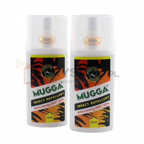 095efe85ff0d 2x MUGGA EXTRA STRONG DEET 50% ORYGINALNA spray na KOMARY i KLESZCZE 75 ml
